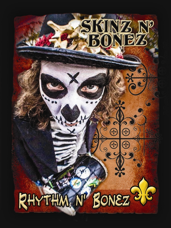 Rhythm N' Bonez has to have it FUNKY!  This Bone continues to energize the spirit of Art, Music & Yoga in many forms for any age, mortal and astral beings alike.  His alter ego, DJ Tom Harvey, can be found spinning in New Orleans clubs and Festivals throughout the region.  When he's not in the streets waking the dead with the thunder of his drums, he can be found teaching kids art and adults yoga. You can catch one of his near annual art shows featuring his paintings and mixed media art at the Bywater Art Lofts. Laissez le BONE ton roule!